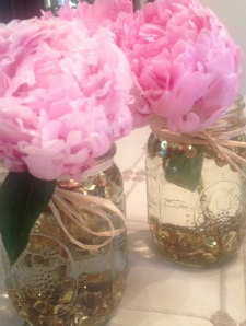 A look at the gold sequined flower jars.